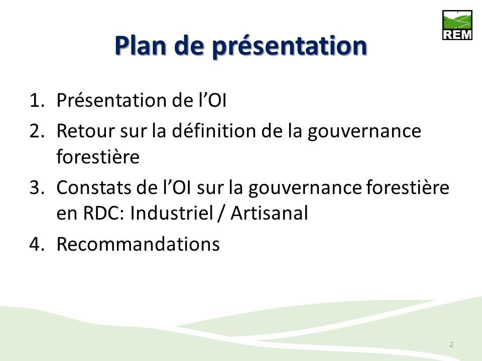 Plan de présentation 1.Présentation de lOI 2.Retour sur la définition de la gouvernance forestière 3.Constats de lOI sur la gouvernance forestière en