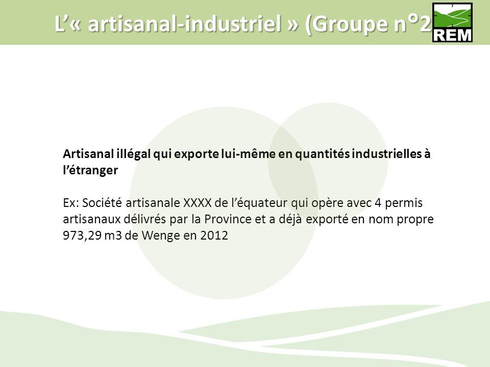 L« artisanal-industriel » (Groupe n°2) Artisanal illégal qui exporte lui-même en quantités industrielles à létranger Ex: Société artisanale XXXX de lé