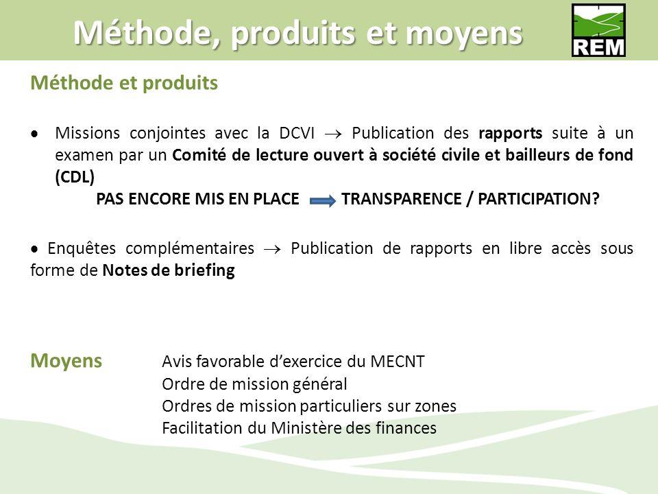 Méthode, produits et moyens Méthode et produits Missions conjointes avec la DCVI Publication des rapports suite à un examen par un Comité de lecture o