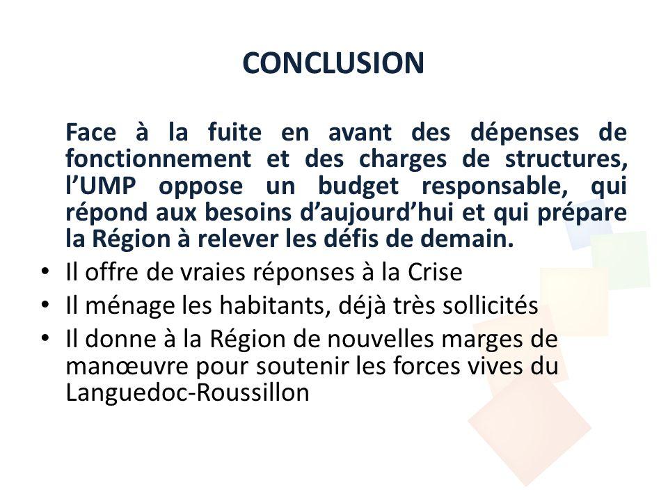 CONCLUSION Face à la fuite en avant des dépenses de fonctionnement et des charges de structures, lUMP oppose un budget responsable, qui répond aux besoins daujourdhui et qui prépare la Région à relever les défis de demain.