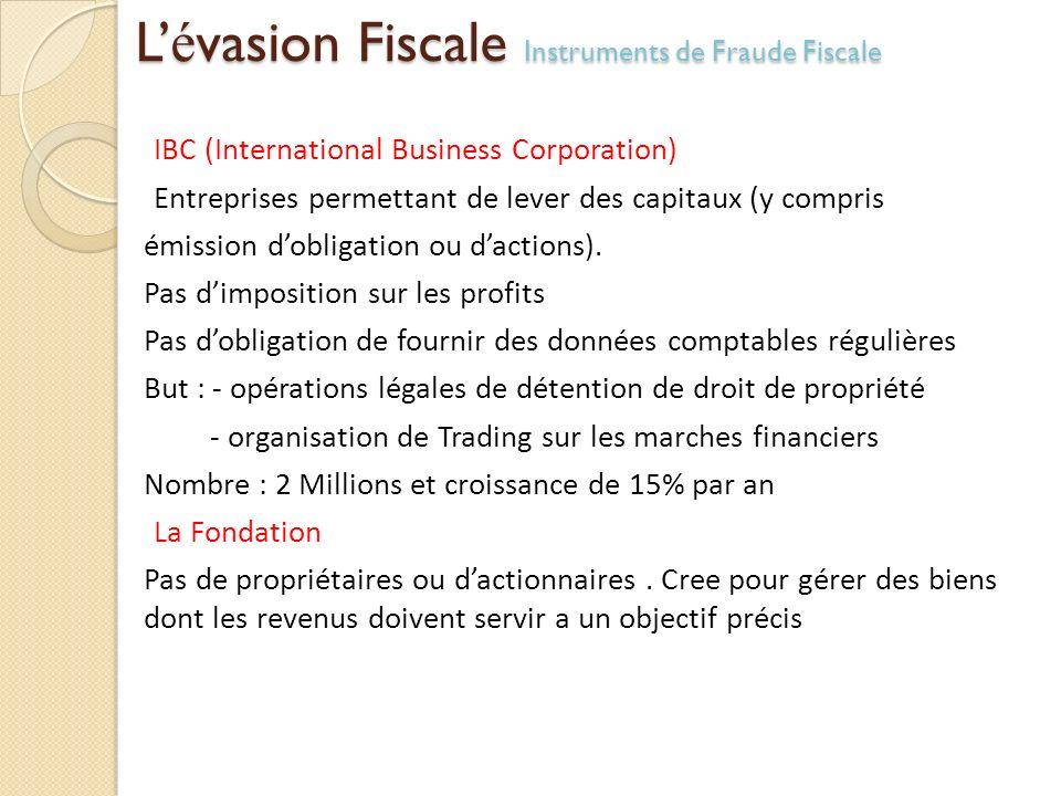 L é vasion Fiscale Instruments de Fraude Fiscale IBC (International Business Corporation) Entreprises permettant de lever des capitaux (y compris émis