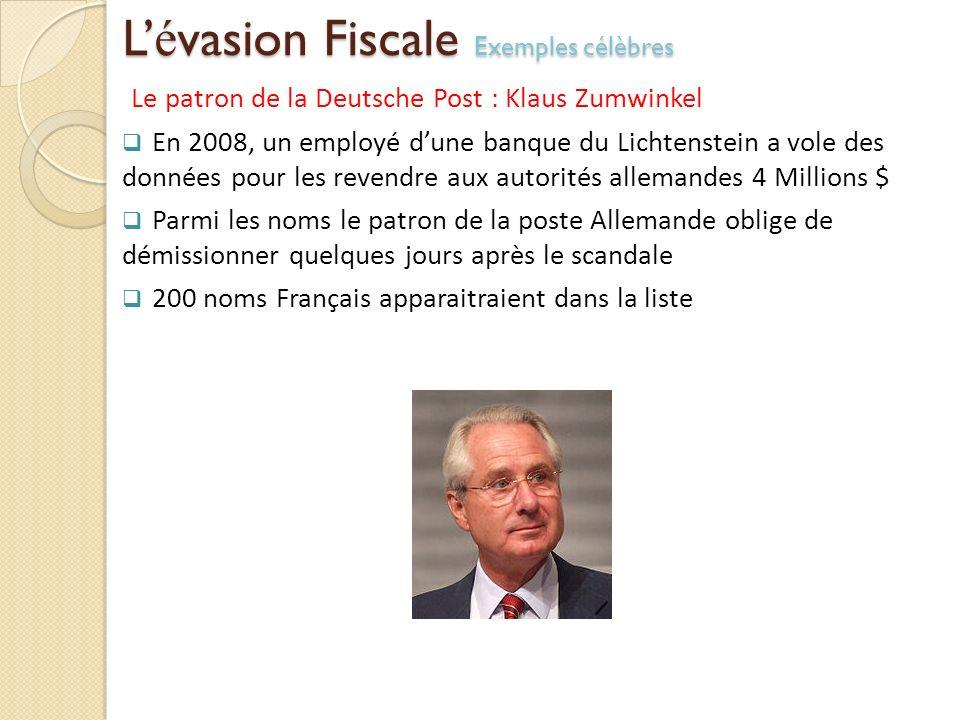 L é vasion Fiscale Exemples célèbres Le patron de la Deutsche Post : Klaus Zumwinkel En 2008, un employé dune banque du Lichtenstein a vole des donnée