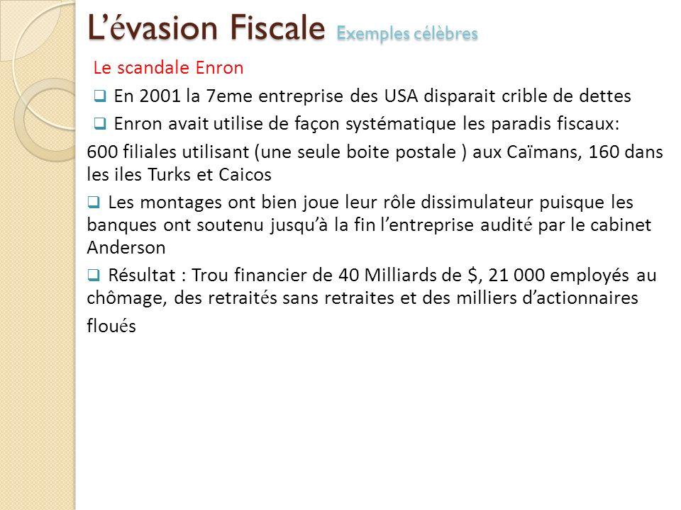 L é vasion Fiscale Exemples célèbres Le scandale Enron En 2001 la 7eme entreprise des USA disparait crible de dettes Enron avait utilise de façon syst