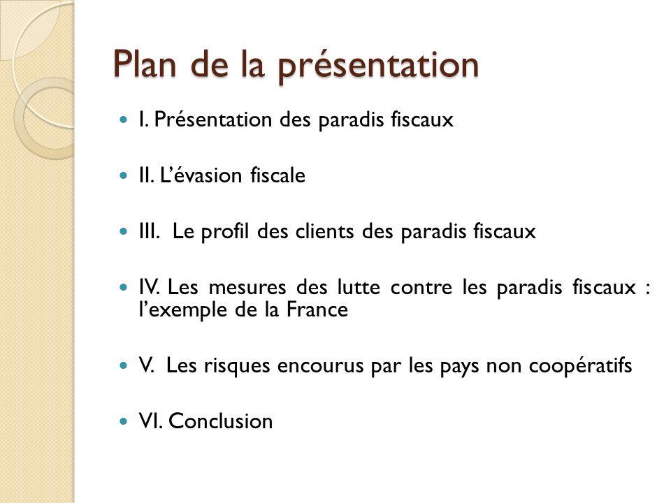 Plan de la présentation I. Présentation des paradis fiscaux II. Lévasion fiscale III. Le profil des clients des paradis fiscaux IV. Les mesures des lu