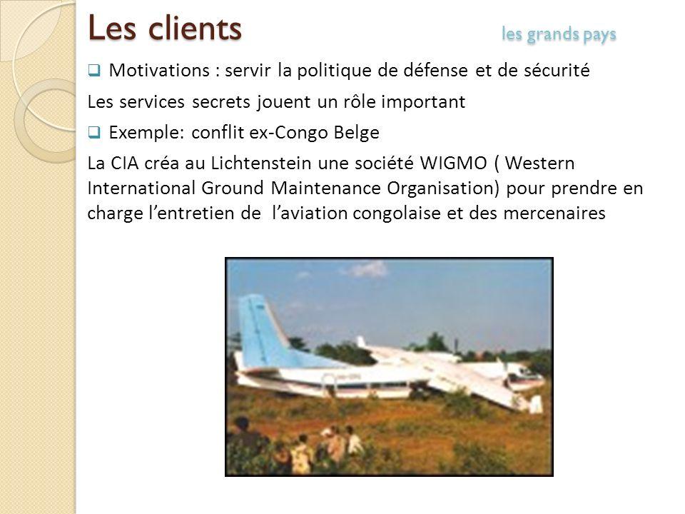 Les clients les grands pays Motivations : servir la politique de défense et de sécurité Les services secrets jouent un rôle important Exemple: conflit