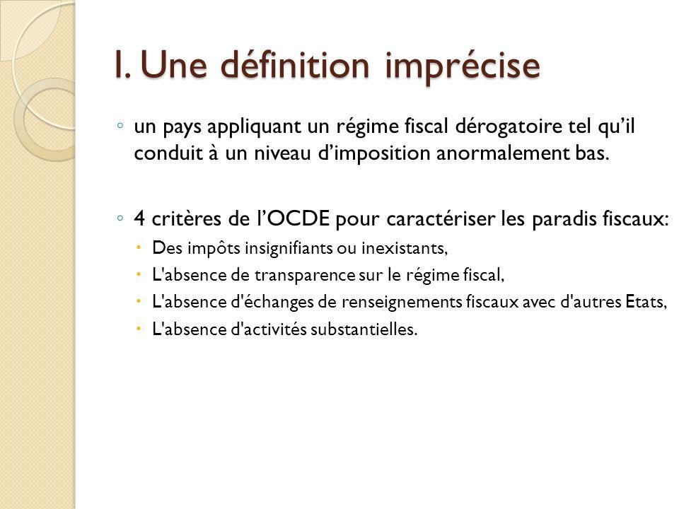 I. Une définition imprécise un pays appliquant un régime fiscal dérogatoire tel quil conduit à un niveau dimposition anormalement bas. 4 critères de l