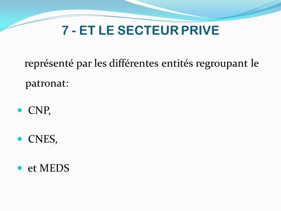 7 - ET LE SECTEUR PRIVE représenté par les différentes entités regroupant le patronat: CNP, CNES, et MEDS