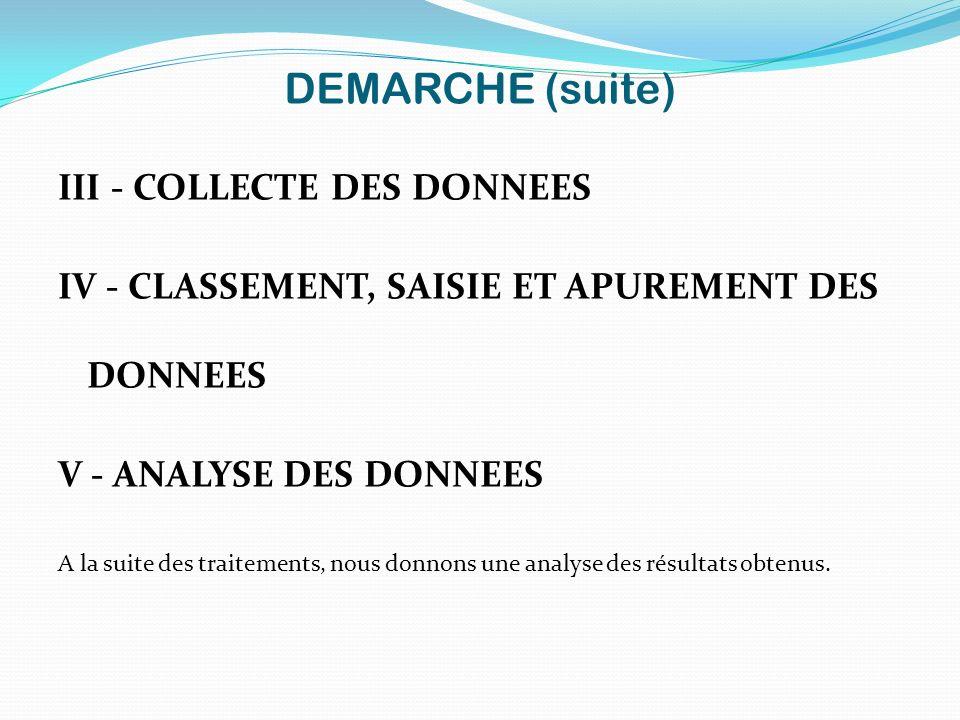 DEMARCHE (suite) III - COLLECTE DES DONNEES IV - CLASSEMENT, SAISIE ET APUREMENT DES DONNEES V - ANALYSE DES DONNEES A la suite des traitements, nous