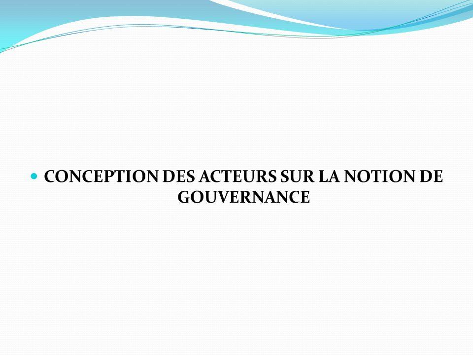 CONCEPTION DES ACTEURS SUR LA NOTION DE GOUVERNANCE