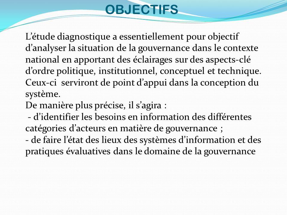 OBJECTIFS Létude diagnostique a essentiellement pour objectif danalyser la situation de la gouvernance dans le contexte national en apportant des écla