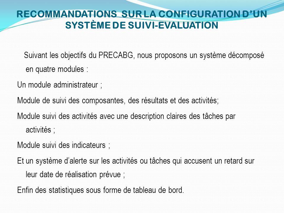 RECOMMANDATIONS SUR LA CONFIGURATION DUN SYSTÈME DE SUIVI-EVALUATION Suivant les objectifs du PRECABG, nous proposons un système décomposé en quatre m