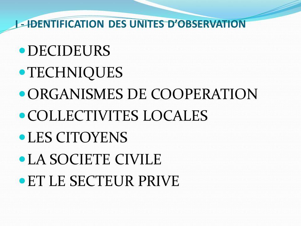 I - IDENTIFICATION DES UNITES DOBSERVATION DECIDEURS TECHNIQUES ORGANISMES DE COOPERATION COLLECTIVITES LOCALES LES CITOYENS LA SOCIETE CIVILE ET LE S