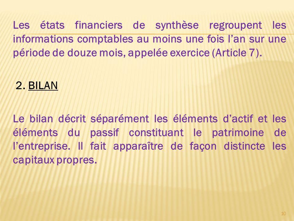 Les états financiers de synthèse regroupent les informations comptables au moins une fois lan sur une période de douze mois, appelée exercice (Article