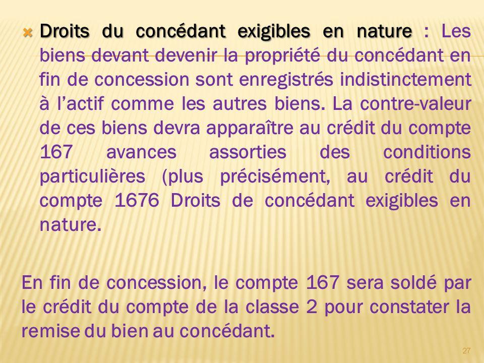 Droits du concédant exigibles en nature Droits du concédant exigibles en nature : Les biens devant devenir la propriété du concédant en fin de concess