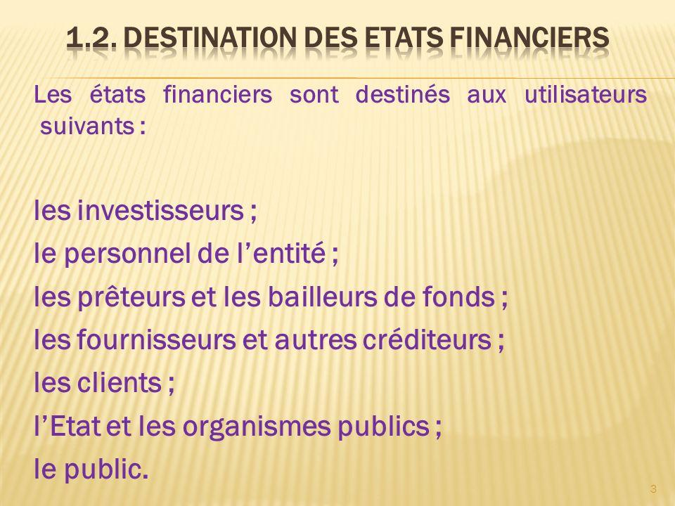Les états financiers sont destinés aux utilisateurs suivants : les investisseurs ; le personnel de lentité ; les prêteurs et les bailleurs de fonds ;