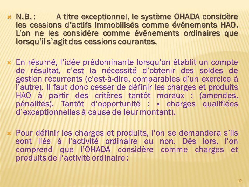 N.B. :A titre exceptionnel, le système OHADA considère les cessions dactifs immobilisés comme événements HAO. Lon ne les considère comme événements or