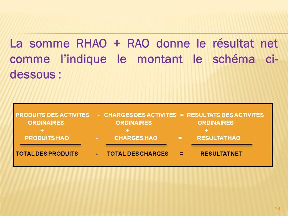 La somme RHAO + RAO donne le résultat net comme lindique le montant le schéma ci- dessous : PRODUITS DES ACTIVITES - CHARGES DES ACTIVITES = RESULTATS