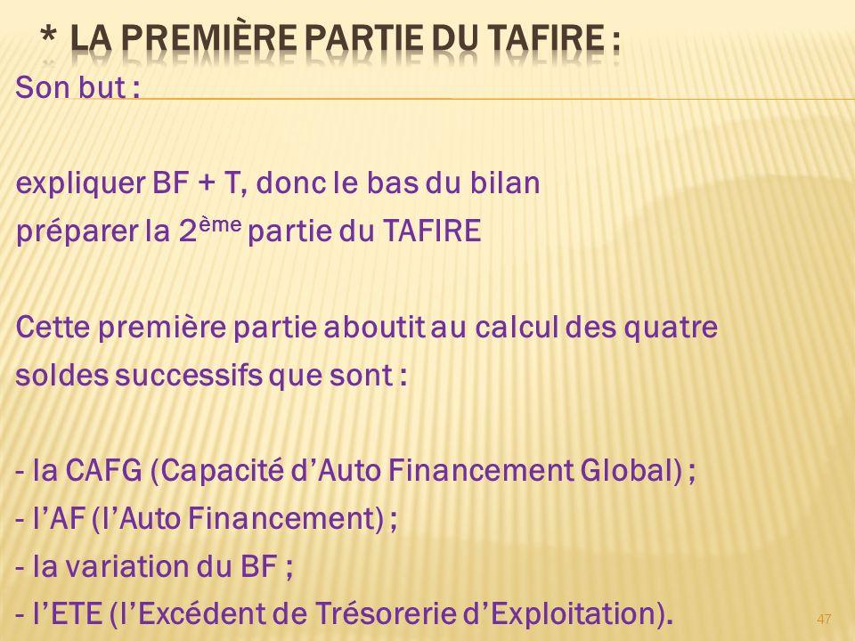 Son but : expliquer BF + T, donc le bas du bilan préparer la 2 ème partie du TAFIRE Cette première partie aboutit au calcul des quatre soldes successi