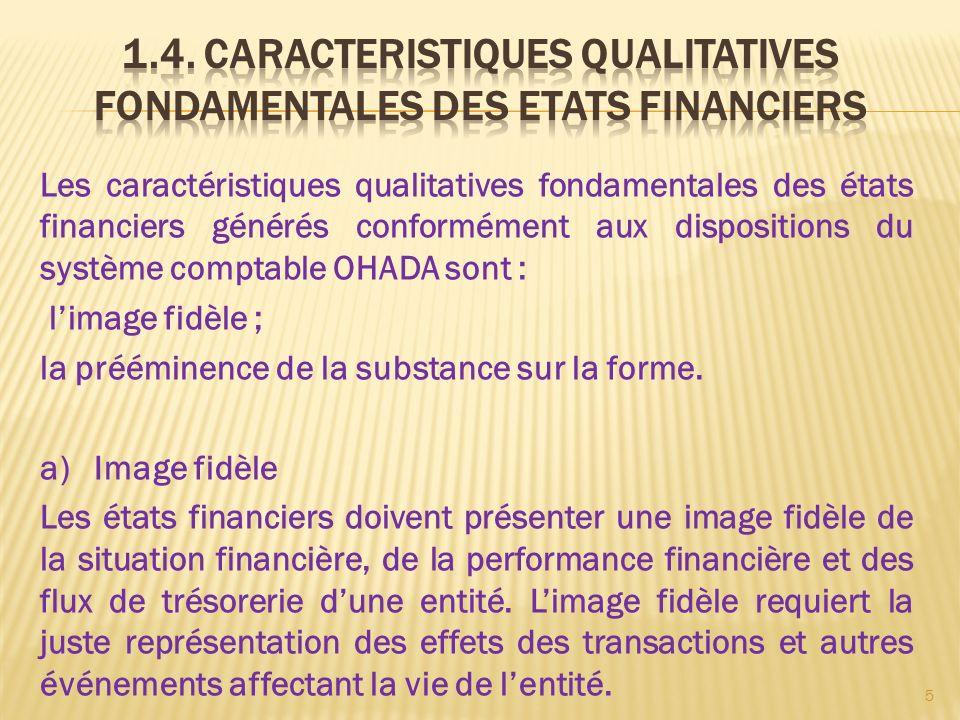 Les caractéristiques qualitatives fondamentales des états financiers générés conformément aux dispositions du système comptable OHADA sont : limage fi