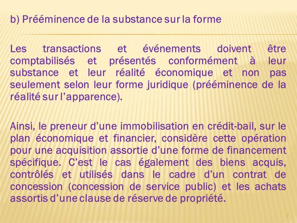 b) Prééminence de la substance sur la forme Les transactions et événements doivent être comptabilisés et présentés conformément à leur substance et le