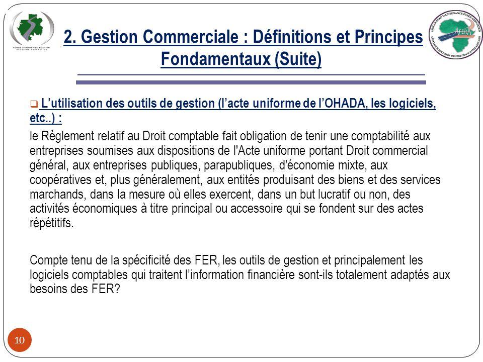 2. Gestion Commerciale : Définitions et Principes Fondamentaux (Suite) 9 Par rapport à la définition de la Banque Mondiale en matière de bonne gouvern