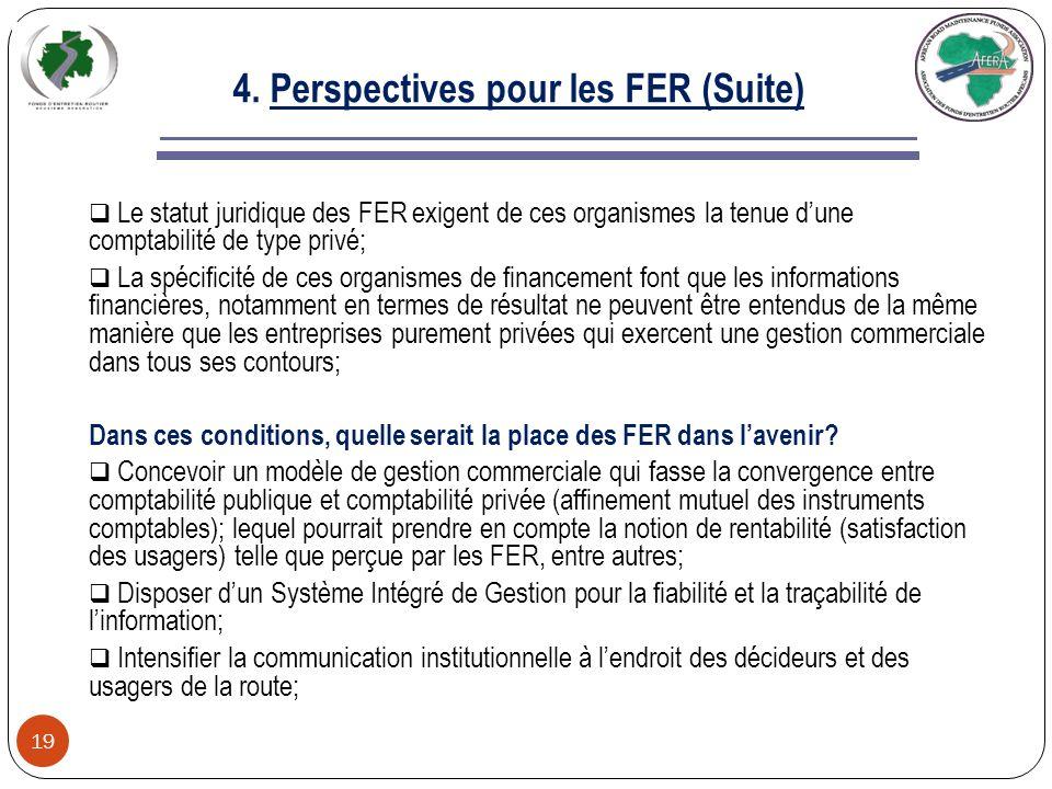 4. Perspectives pour les FER 18 Pour donner quelques solutions à la problématique posée, il importe tout dabord de faire les observations suivantes: L