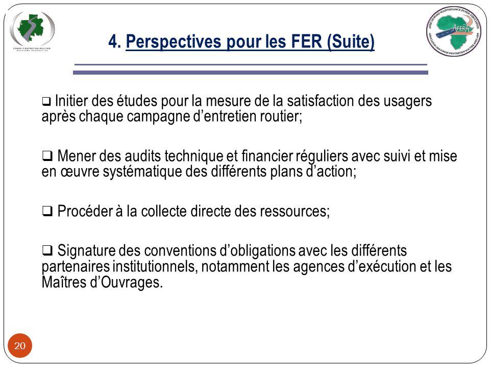 4. Perspectives pour les FER (Suite) 19 Le statut juridique des FER exigent de ces organismes la tenue dune comptabilité de type privé; La spécificité