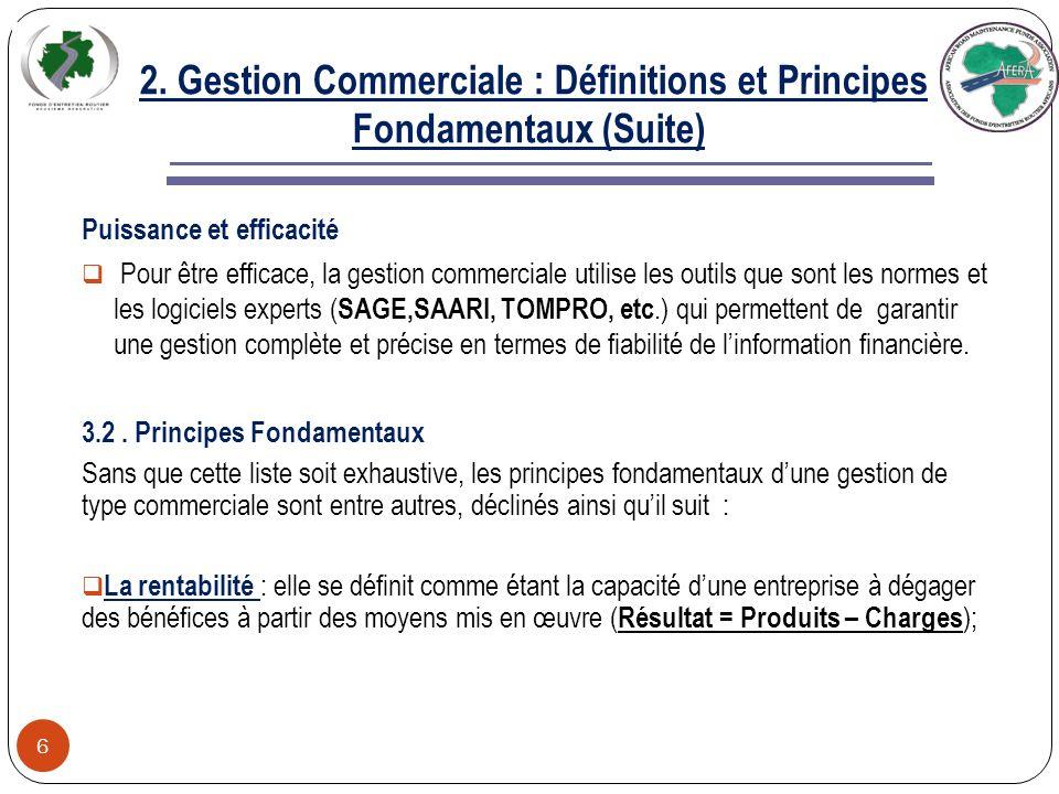 2. Gestion Commerciale : Définitions et Principes Fondamentaux 5 3.1 Définitions et enjeux Quest-ce que la gestion commerciale ? La gestion commercial