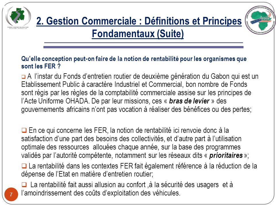 2. Gestion Commerciale : Définitions et Principes Fondamentaux (Suite) 6 Puissance et efficacité Pour être efficace, la gestion commerciale utilise le