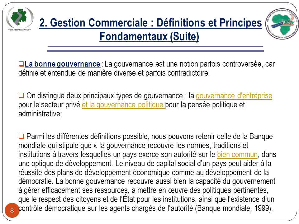 2. Gestion Commerciale : Définitions et Principes Fondamentaux (Suite) 7 Quelle conception peut-on faire de la notion de rentabilité pour les organism