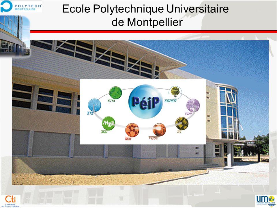 Laboratoires Associés LIRMM : Laboratoire dInformatique de Robotique et de Microélectronique de Montpellier (UMR 5506 UM2/CNRS) IES : Institut délectronique du Sud (UMR 5214 UM2/CNRS) I3M : Institut de Modélisation Mathématique de Montpellier (UMR 5149 UM2/CNRS) HSM : Hydrosciences Montpellier (UMR 5569 : UM2/UM1/CNRS/IRD) LGPEB : Laboratoire de Génie des Procédés Eau et Bioproduits (UMR 016 : UM2/UM1/CIRAD) ECOLAG : Laboratoire des Ecosystèmes Lagunaires (UMR 5119 : UM2/CNRS/IFREMER) Qualisud : Qualité des Aliments du Sud (Démarche Intégrée pour une Alimentation de Qualité) (UMR UM2/UM1/CIRAD/SupAgro) IATE : Ingéniérie des Agropolymères – Technologies Emergeantes (UMR 1208 UM2/ENSA/SupAgro/INRA/CIRAD) NHBA : Nutrition Humaine, Biodisponibilité, Athérogénèse (EA UM2/UM1) IEM : Institut Européen de Membranes (UMR 5635 ENSCM/UM2/CNRS) ICG : Institut Charles Gerhardt (UMR 5253 UM2/UM1/CNRS/ENSCM) LCVN : Laboratoire des Colloïdes, Verres et Nanomatériaux (UMR UM2/CNRS 5587) LMGC : Laboratoire de Mécanique et Génie Civil (UMR UM2/CNRS 5508) CREGO : Centre de Recherche en Gestion des Organisation (EA)