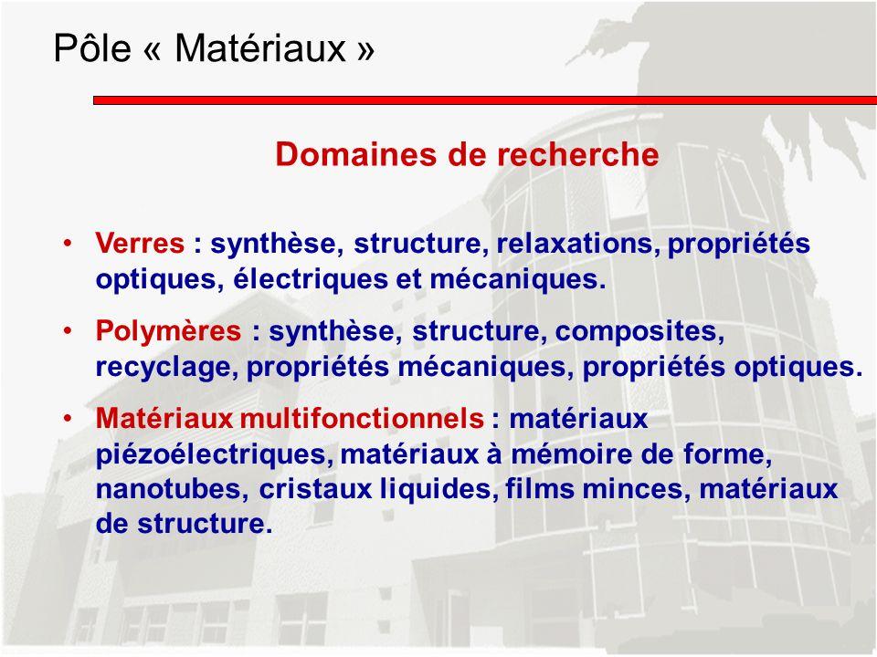 Domaines de recherche Verres : synthèse, structure, relaxations, propriétés optiques, électriques et mécaniques. Polymères : synthèse, structure, comp