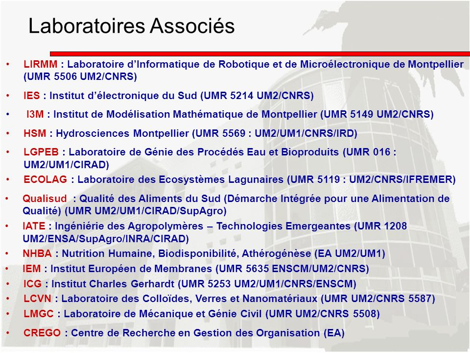 Laboratoires Associés LIRMM : Laboratoire dInformatique de Robotique et de Microélectronique de Montpellier (UMR 5506 UM2/CNRS) IES : Institut délectr