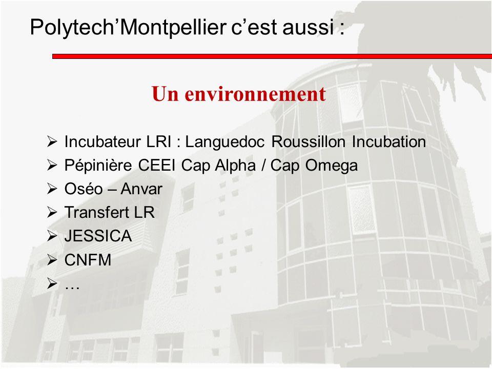 PolytechMontpellier cest aussi : Incubateur LRI : Languedoc Roussillon Incubation Pépinière CEEI Cap Alpha / Cap Omega Oséo – Anvar Transfert LR JESSI