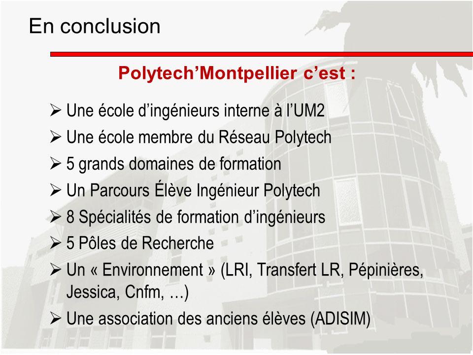 PolytechMontpellier cest : En conclusion Une école dingénieurs interne à lUM2 Une école membre du Réseau Polytech 5 grands domaines de formation Un Pa