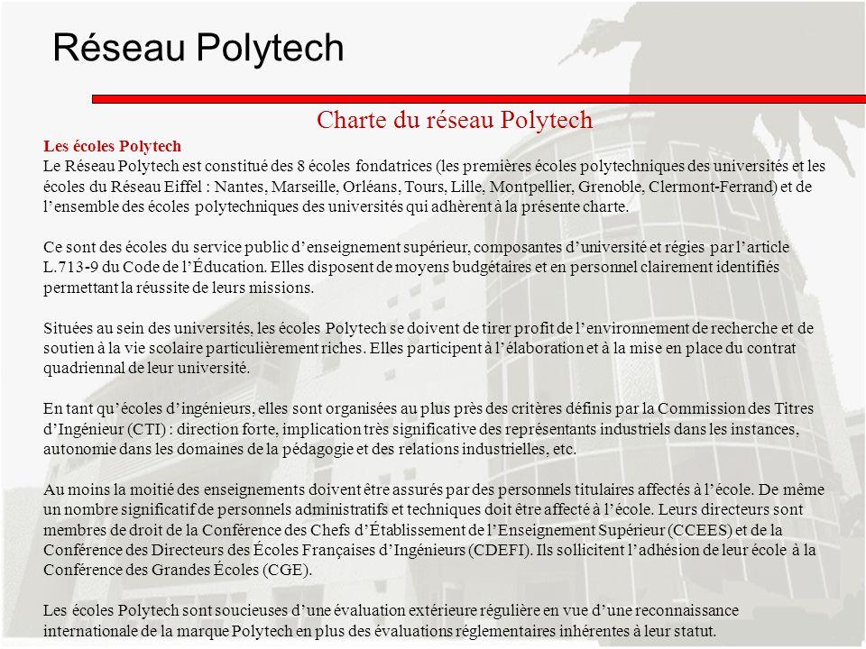 Réseau Polytech Les écoles Polytech Le Réseau Polytech est constitué des 8 écoles fondatrices (les premières écoles polytechniques des universités et