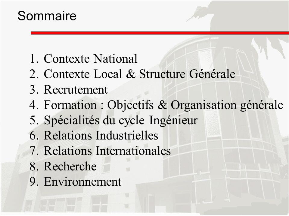 1.Contexte National 2.Contexte Local & Structure Générale 3.Recrutement 4.Formation : Objectifs & Organisation générale 5.Spécialités du cycle Ingénie