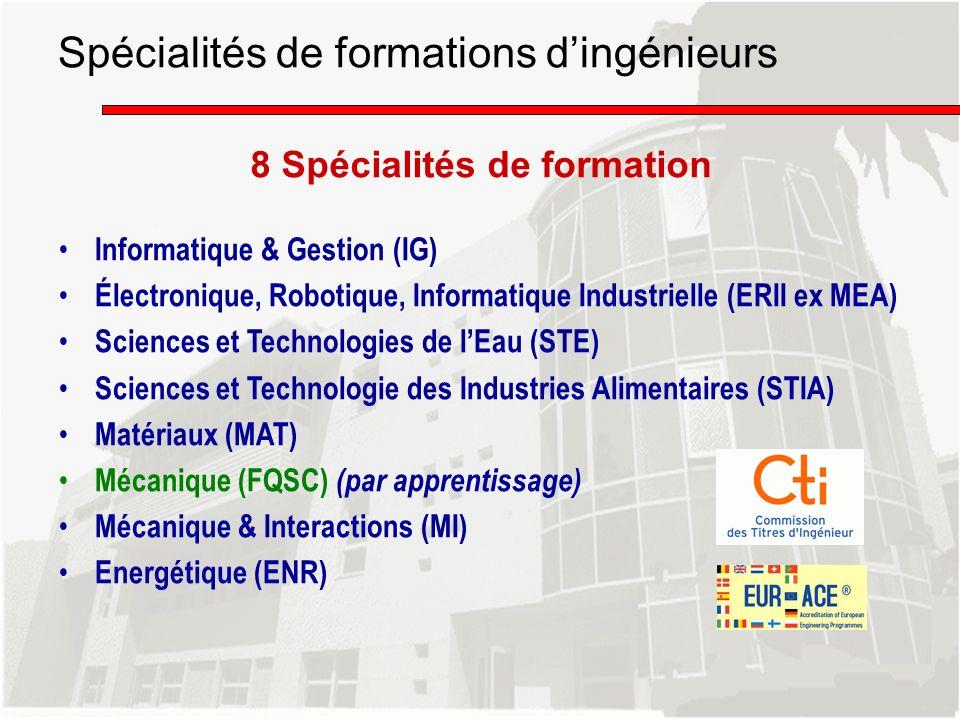 8 Spécialités de formation Informatique & Gestion (IG) Électronique, Robotique, Informatique Industrielle (ERII ex MEA) Sciences et Technologies de lE