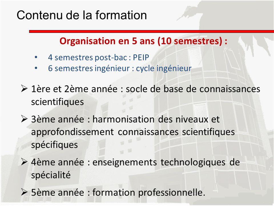 Contenu de la formation 1ère et 2ème année : socle de base de connaissances scientifiques 3ème année : harmonisation des niveaux et approfondissement