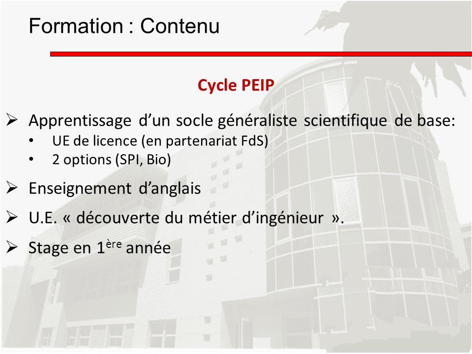 Apprentissage dun socle généraliste scientifique de base: UE de licence (en partenariat FdS) 2 options (SPI, Bio) Enseignement danglais U.E. « découve