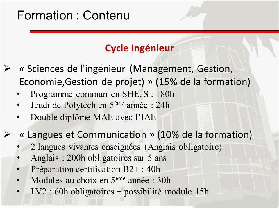 « Sciences de l'ingénieur (Management, Gestion, Economie,Gestion de projet) » (15% de la formation) Programme commun en SHEJS : 180h Jeudi de Polytech
