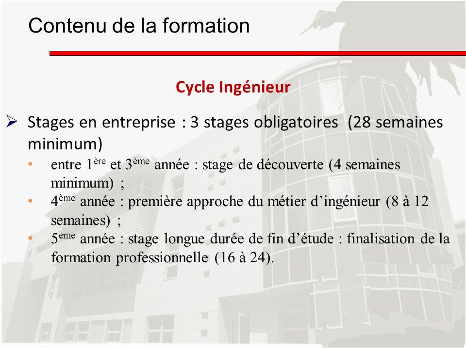 Stages en entreprise : 3 stages obligatoires (28 semaines minimum) entre 1 ère et 3 ème année : stage de découverte (4 semaines minimum) ; 4 ème année
