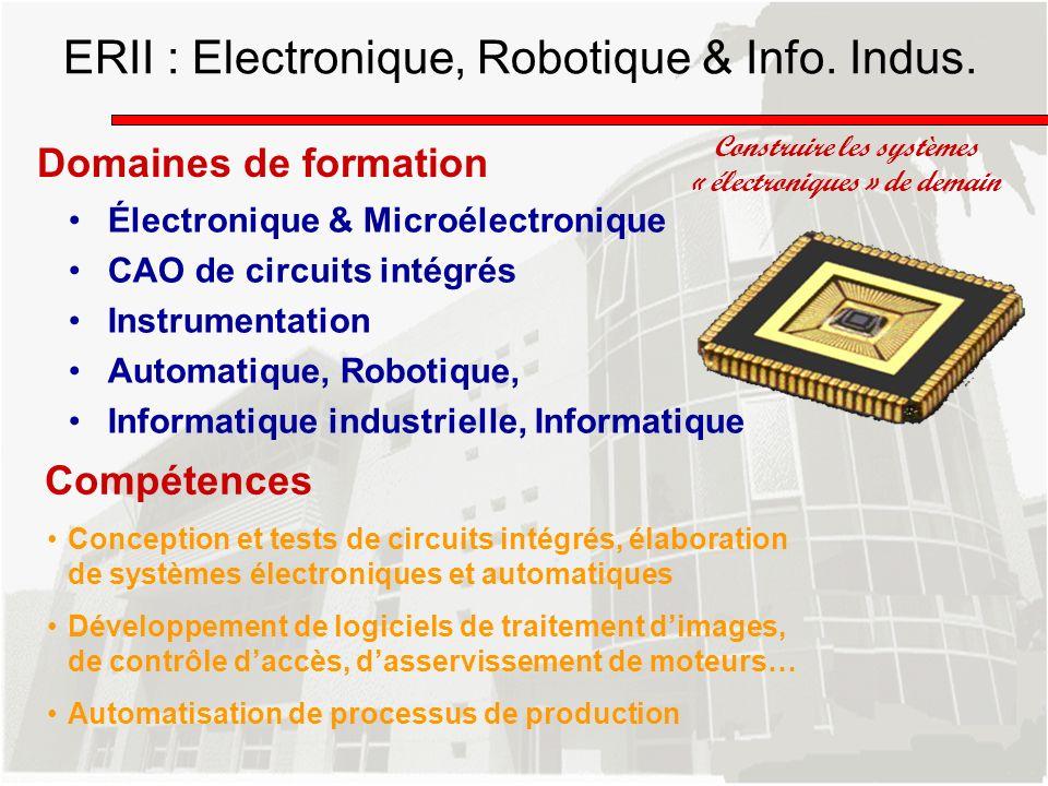 Domaines de formation Construire les systèmes « électroniques » de demain Électronique & Microélectronique CAO de circuits intégrés Instrumentation Au