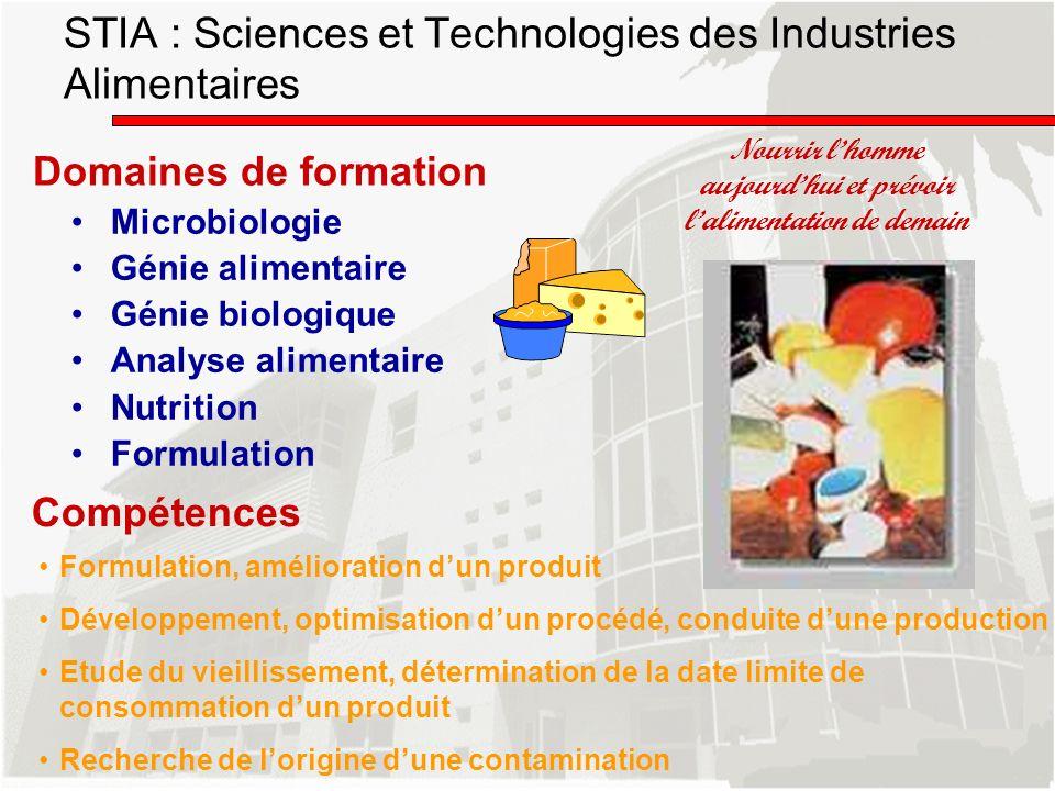 Domaines de formation Microbiologie Génie alimentaire Génie biologique Analyse alimentaire Nutrition Formulation Nourrir lhomme aujourdhui et prévoir