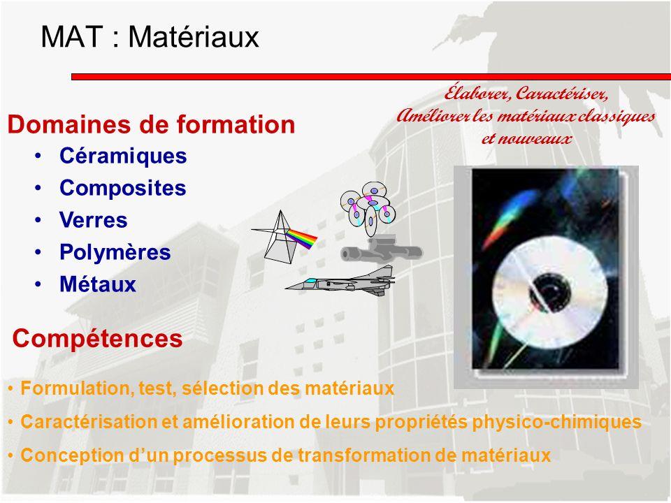 Domaines de formation Céramiques Composites Verres Polymères Métaux Élaborer, Caractériser, Améliorer les matériaux classiques et nouveaux Compétences