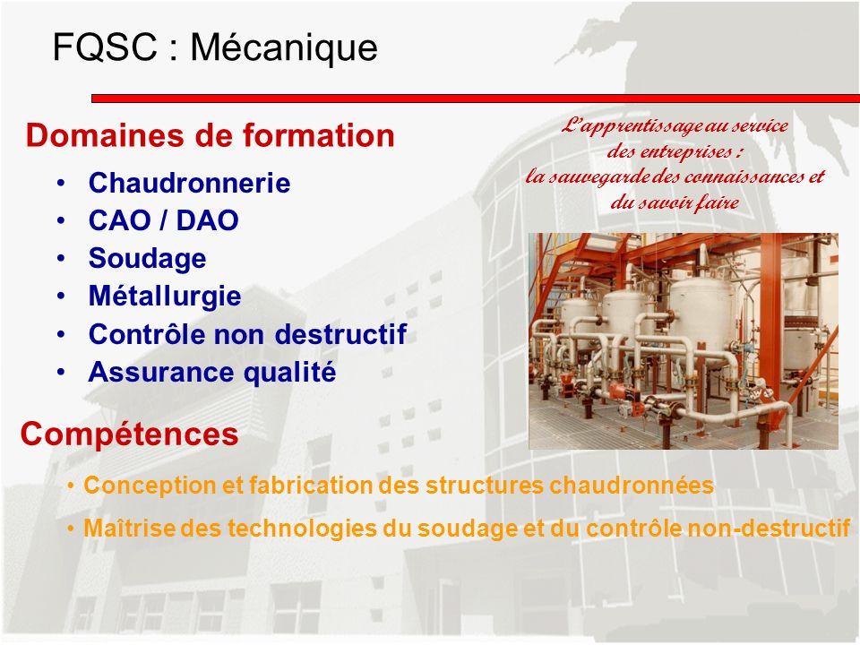 Domaines de formation Chaudronnerie CAO / DAO Soudage Métallurgie Contrôle non destructif Assurance qualité Lapprentissage au service des entreprises
