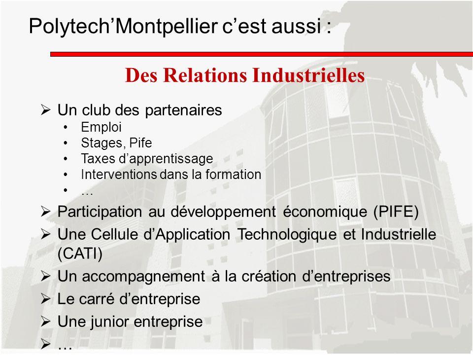 PolytechMontpellier cest aussi : Des Relations Industrielles Un club des partenaires Emploi Stages, Pife Taxes dapprentissage Interventions dans la fo