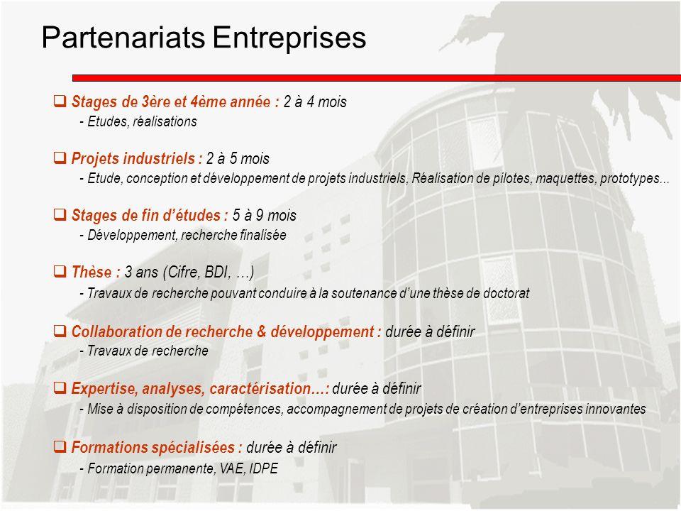 Stages de 3ère et 4ème année : 2 à 4 mois - Etudes, réalisations Projets industriels : 2 à 5 mois - Etude, conception et développement de projets indu
