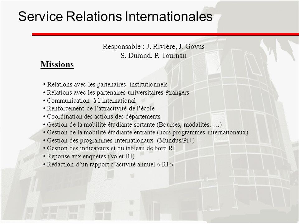 Missions Responsable : J. Rivière, J. Govus S. Durand, P. Tournan Service Relations Internationales Relations avec les partenaires institutionnels Rel