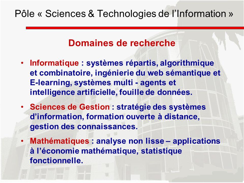 Domaines de recherche Informatique : systèmes répartis, algorithmique et combinatoire, ingénierie du web sémantique et E-learning, systèmes multi - ag